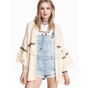 H&M Coachella - Fringe Open Front Cardigan - M